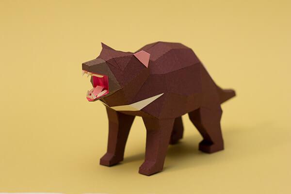 animales hechos con papel demonio de tasmania
