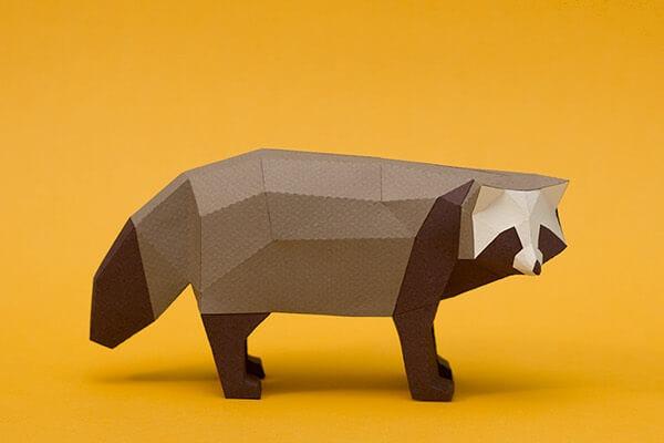 animales hechos con papel mapache