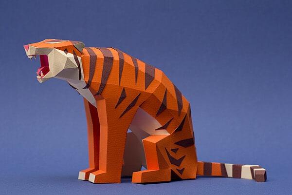 animales hechos con papel tigre