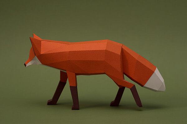 animales hechos con papel zorro