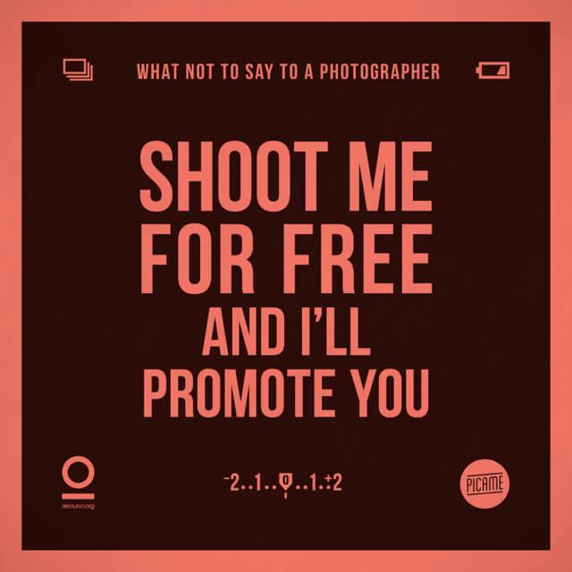Fotografíame gratis y promoveré tú trabajo.