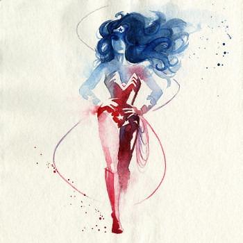 pinturas superheroes acuarelas mujer maravilla 2