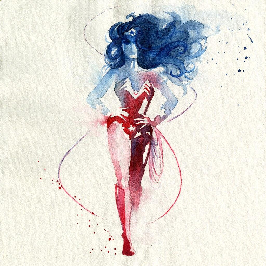 Pinturas de superhéroes con acuarelas por Blule - Frogx Three