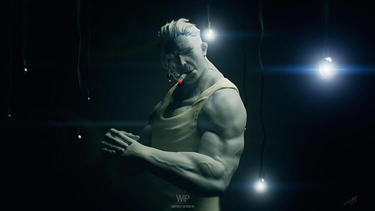 modelado 3d Santiago Betancur bad guy WIP