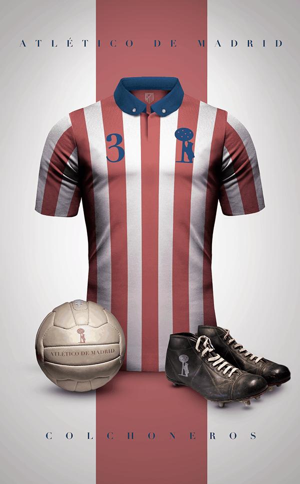 uniformes clubs futbol vintage atletico de madrid