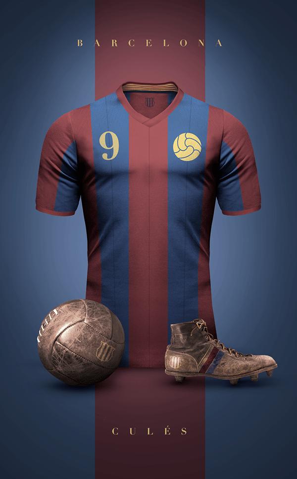 uniformes clubs futbol vintage barcelona