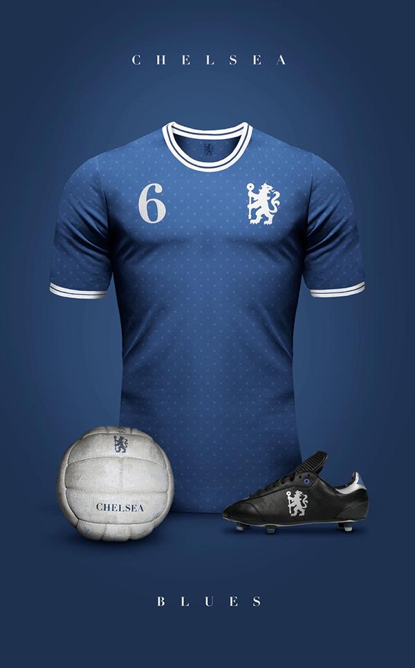 Uniformes de clubes de fútbol estilo vintage por Emi ... Real Madrid