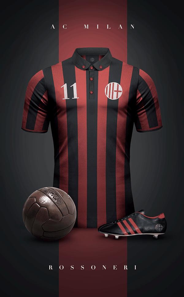 uniformes clubs futbol vintage milan