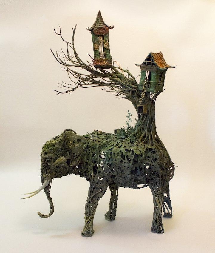 Ellen Jewett esculturas animales elefante