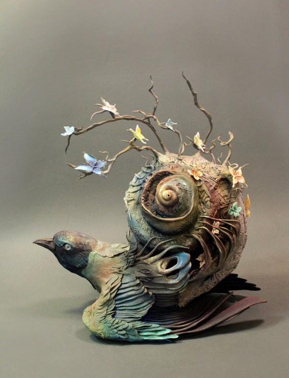 Ellen Jewett esculturas animales paloma