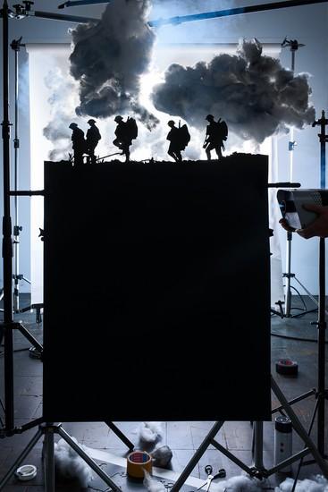Silueta de cinco soldados en la batalla de Broodseinde