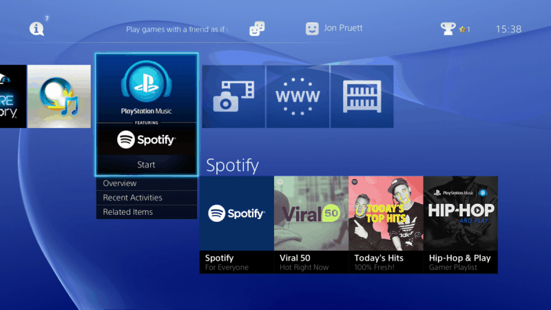 playstation music spotify interface 2