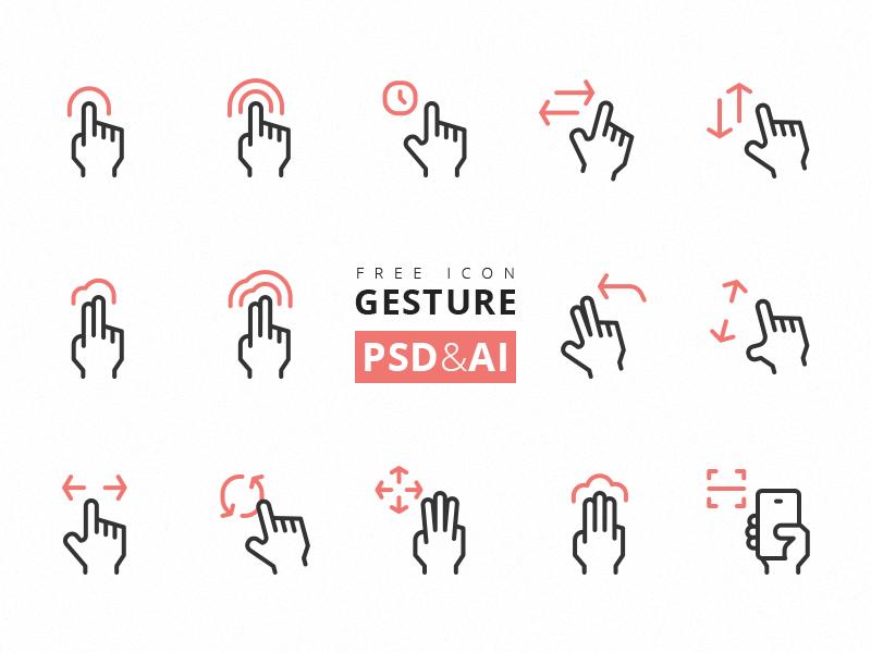 Iconos de gestos touch