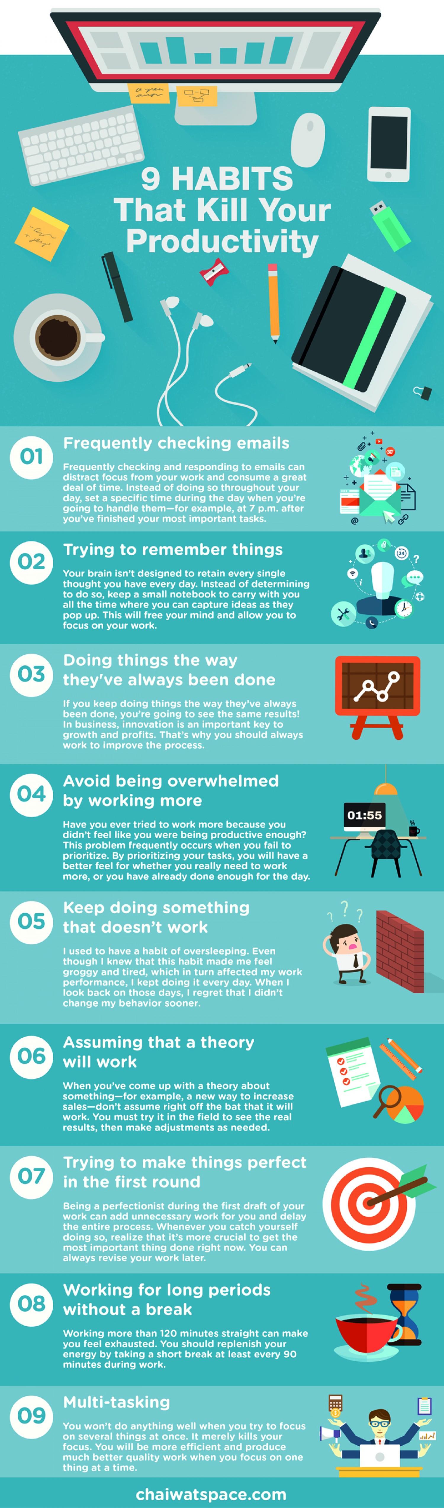 infografia 9 habitos que matan tu productividad