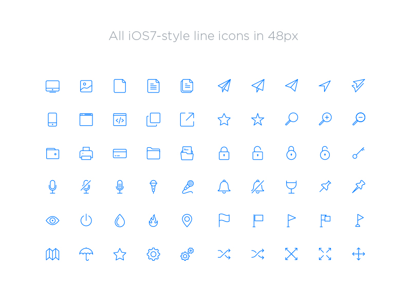 Iconos lineales iOS