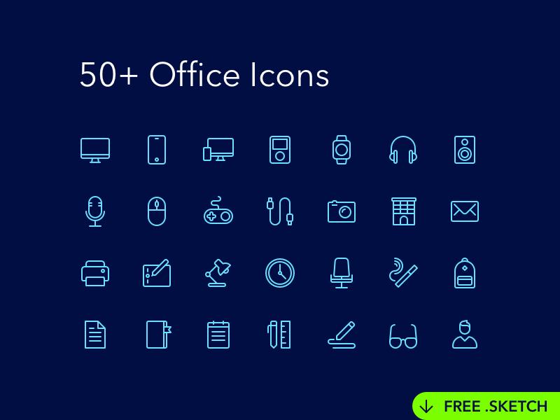 Iconos de artículos de oficina