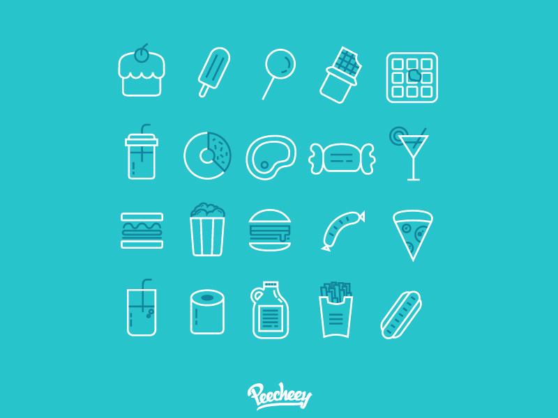 Iconos de comida (lineales)