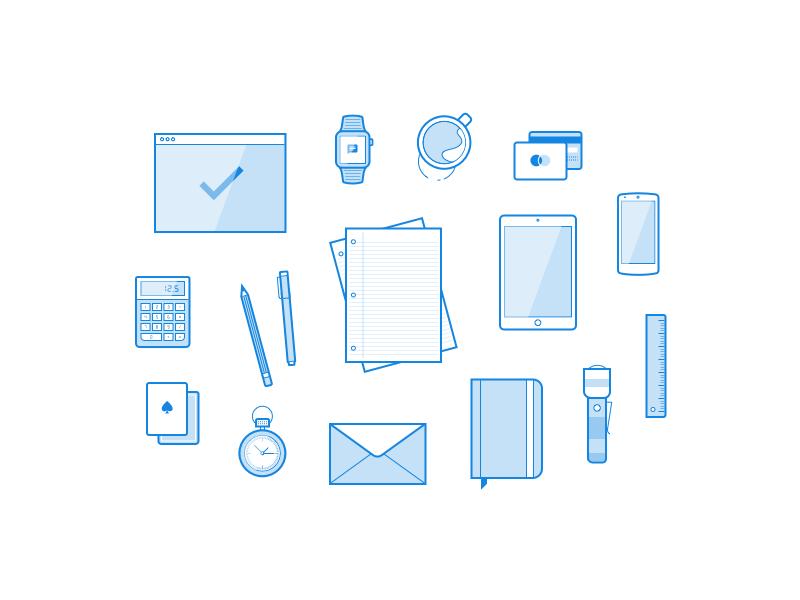 Iconos de objetos de oficina