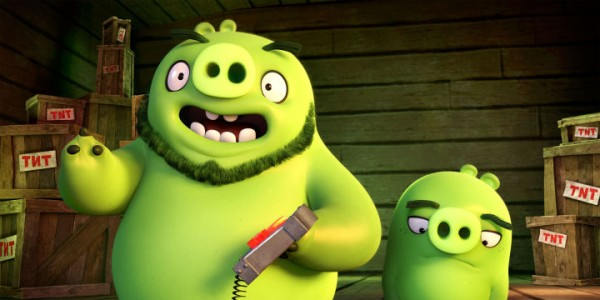 The arrival of Leonard (Bill Hader), the spokesman for the pigs, and his top aide, Ross (Tony Hale) in Columbia Pictures and Rovio Animation's ANGRY BIRDS.