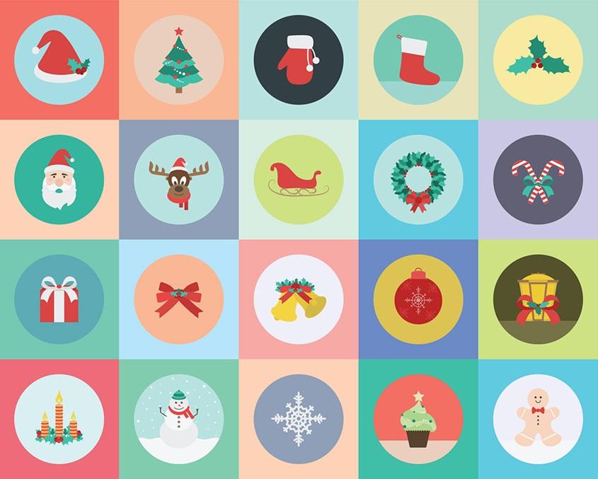20 Iconos Navideños por Zippy Pixels