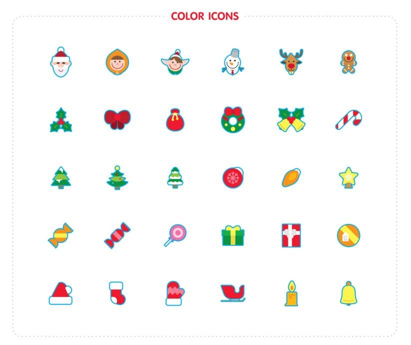 Iconos de motivos navideños en color y lineales por Nasztu