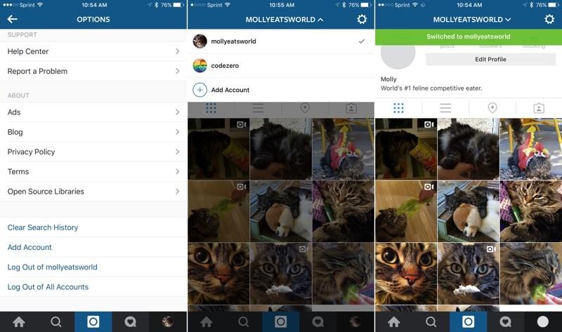 instagram soporte multi cuenta