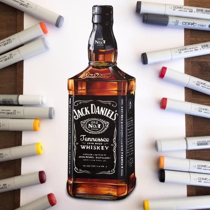 ilustraciones Stephen Ward botella jack daniels