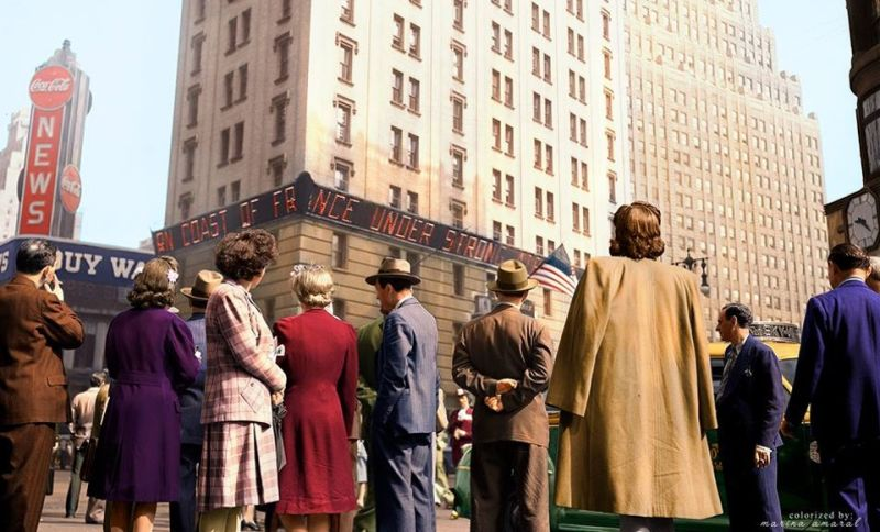 La Times Square de Nueva York durante el día del desembarco de Normandía, 6 de junio de 1944