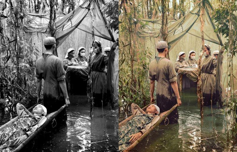 Un hospital de campaña escondido en un pantano en 1970, durante la guerra de Vietnam