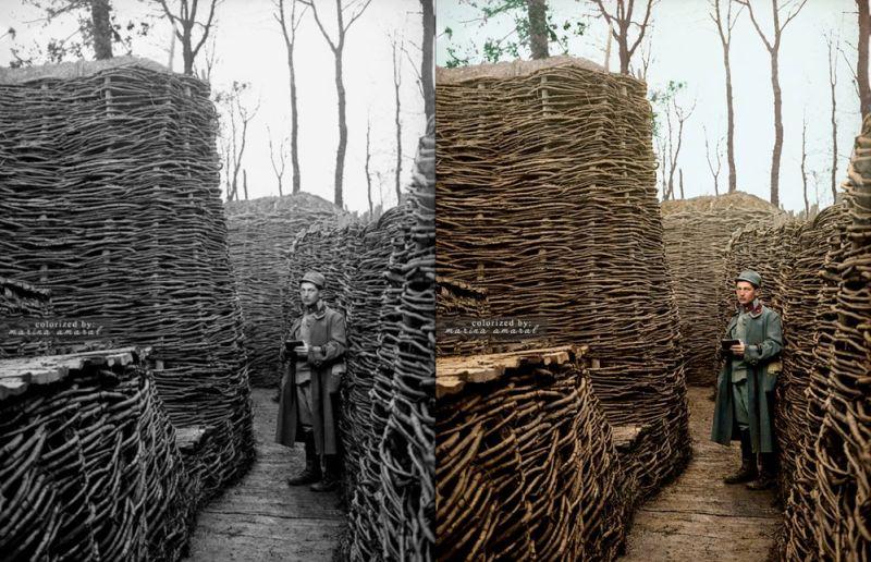 Un soldado austriaco en unas trincheras de madera durante la Primera Guerra Mundial