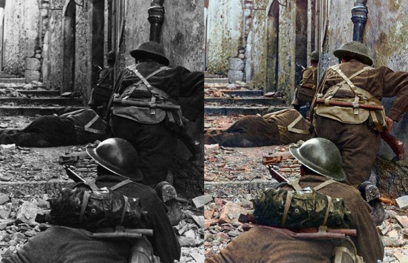 La infantería canadiense avanza contra los alemanes en Campochiaro (Italia) en 1943 durante la Segunda Guerra Mundial