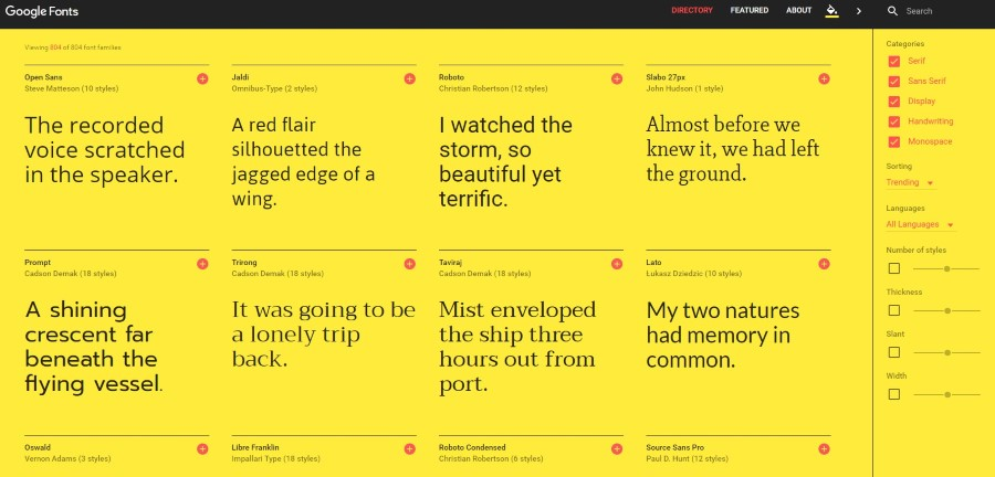 google fonts diseno 2016 amarillo