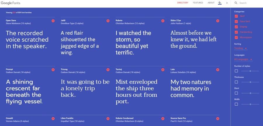 google fonts diseno 2016 azul