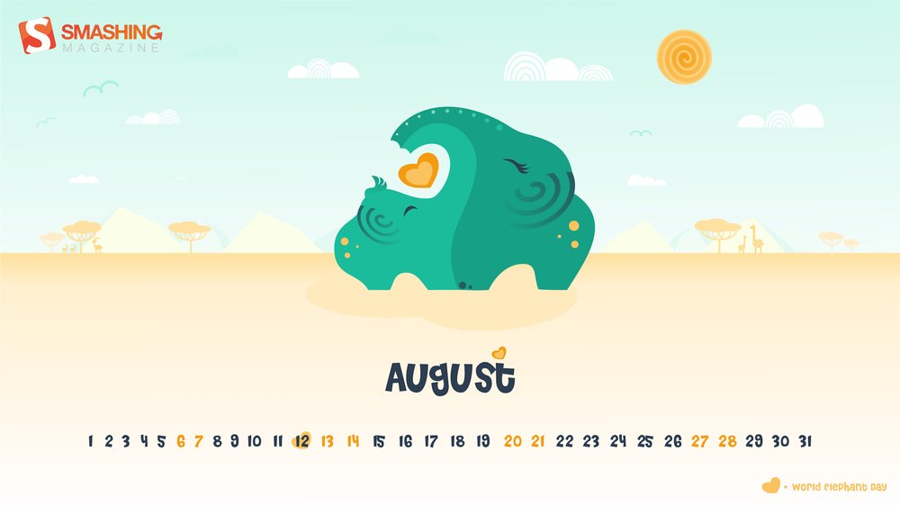 Wallpapers con calendario de Agosto 2