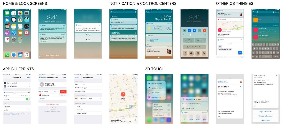 elementos gráficos en PSD de iOS 10