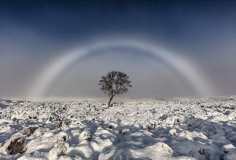 Fotografía de un arcoíris blanco