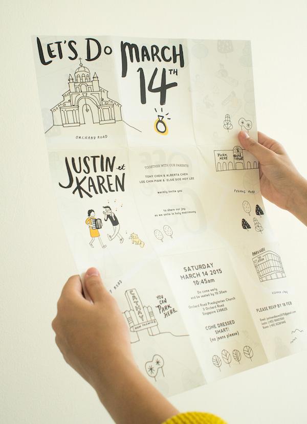 diseño plegable para una invitación de boda creativa