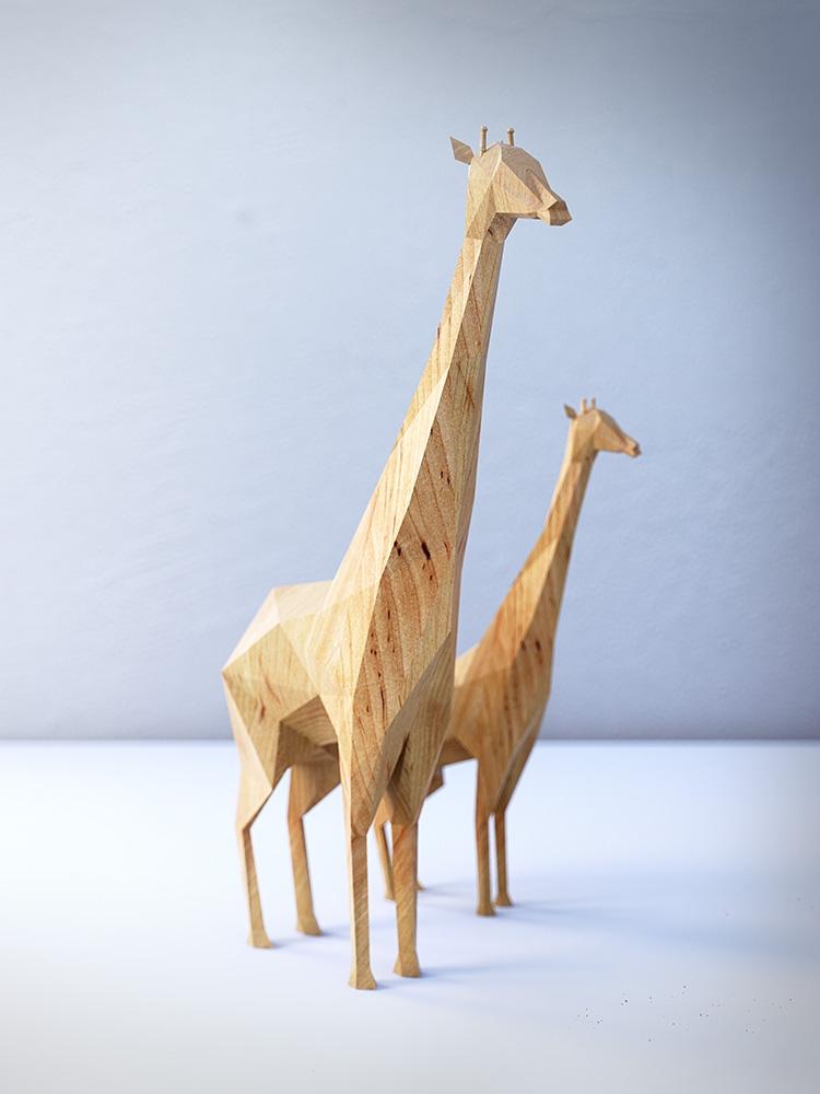 Conceptos 3D de juguetes de animales hechos en madera