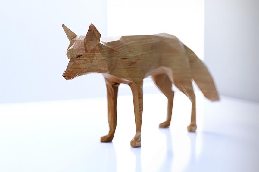 Conceptos 3D de juquetes de animales hechos en madera