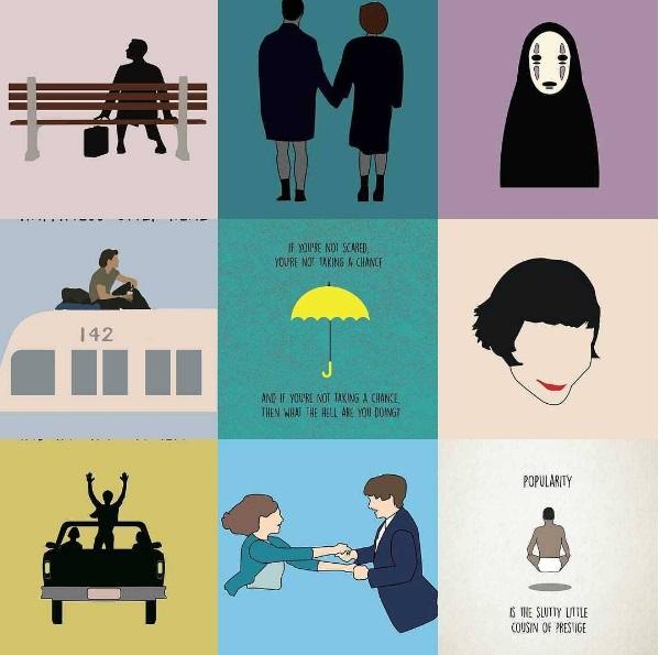 Ilustraciones minimalistas con frases memorables de películas