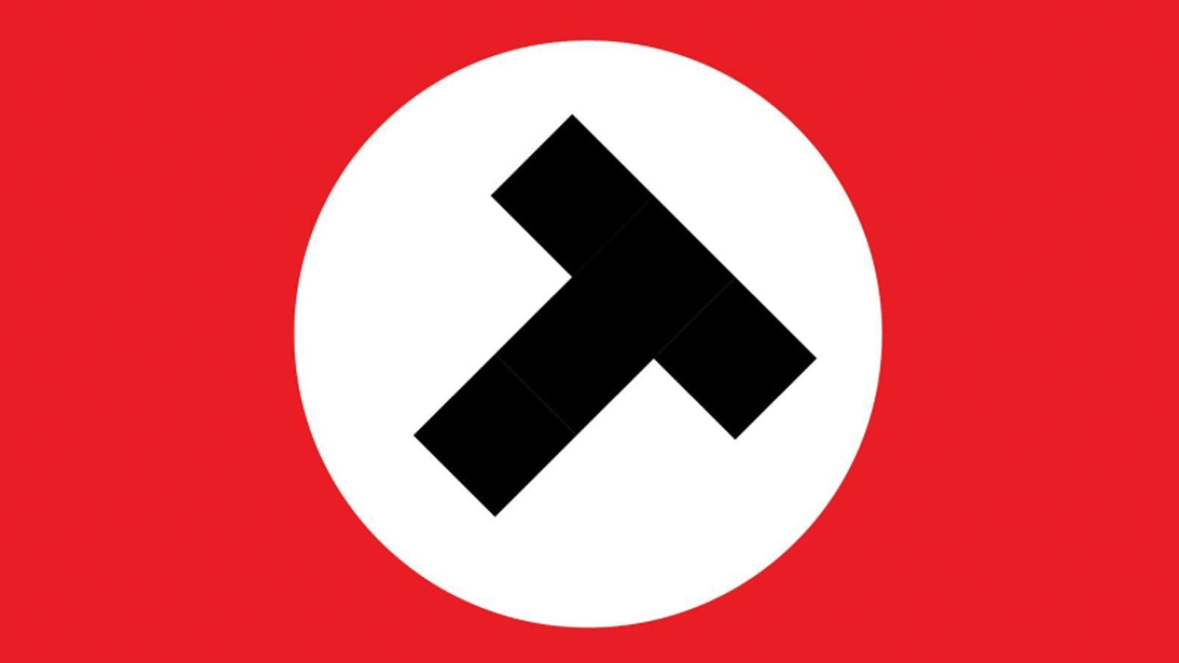 logo para Donald Trump inspirado en la bandera Nazi