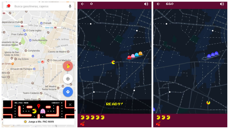 Ms Pac-Man en Google Maps