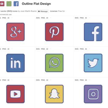 Paquete de iconos flat de redes sociales gratis