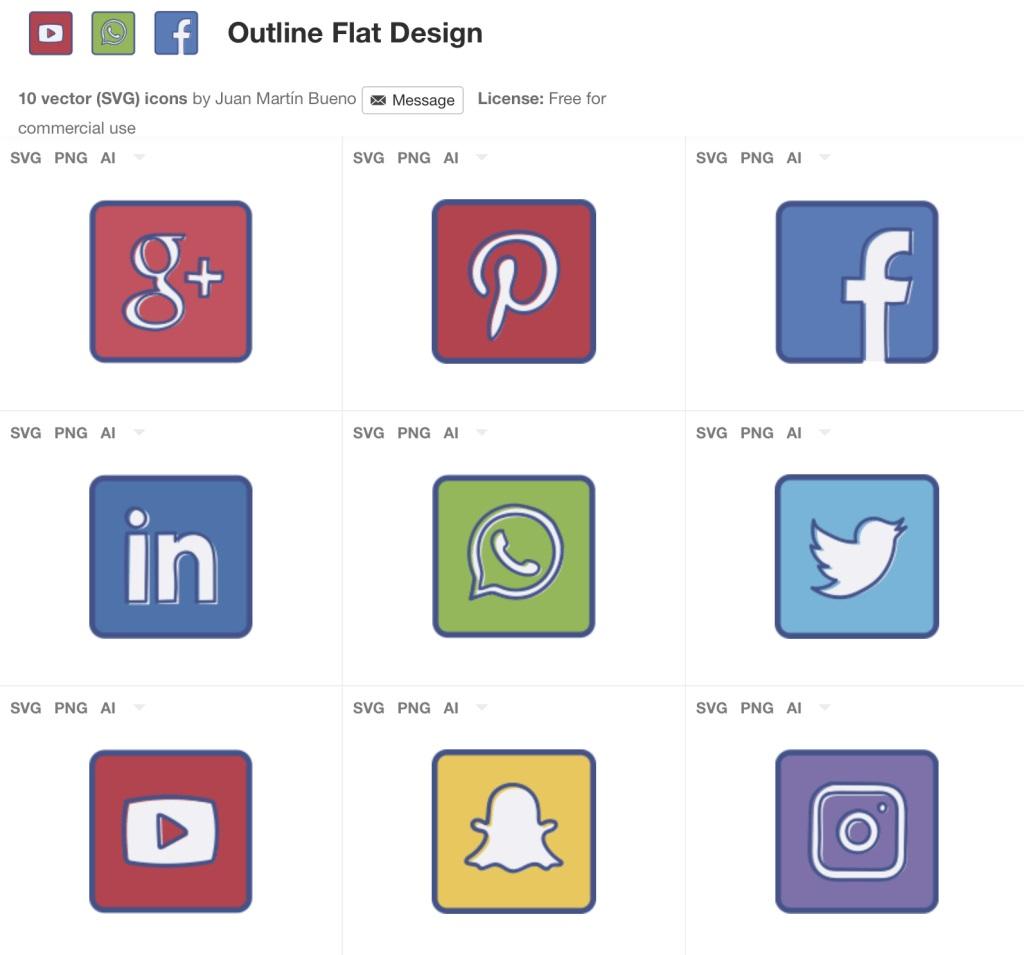 iconos flat de redes sociales gratis