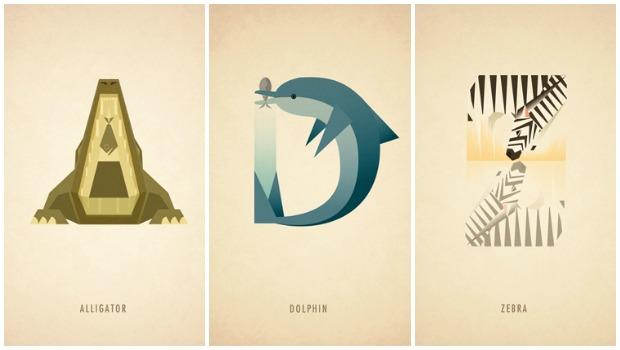 Ilustraciones tipográficas inspiradas en el reino animal