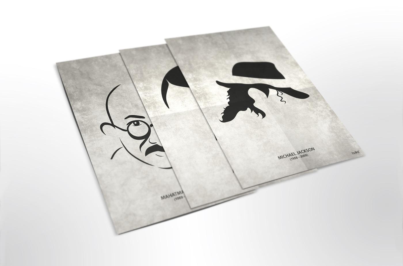 Ilustraciones minimalistas de personajes históricos