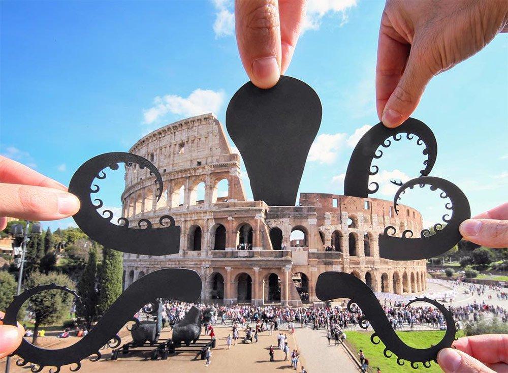 perspectiva fotografica creada con recortes de papel