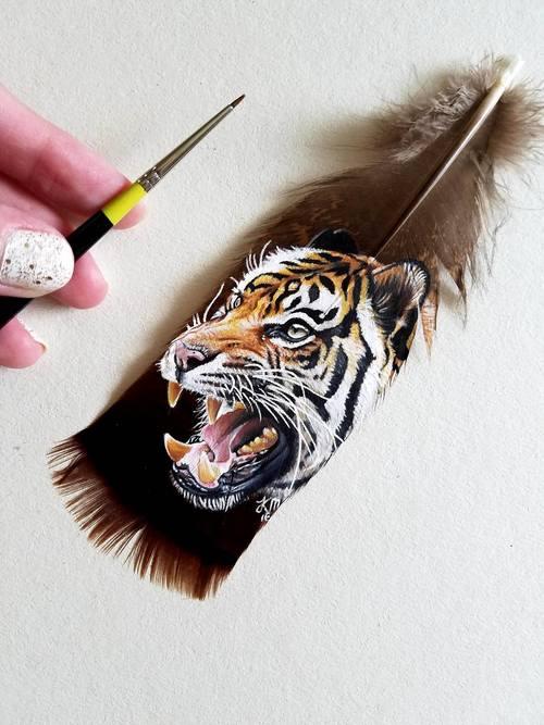 Retratos animales hechos con plumas (4)
