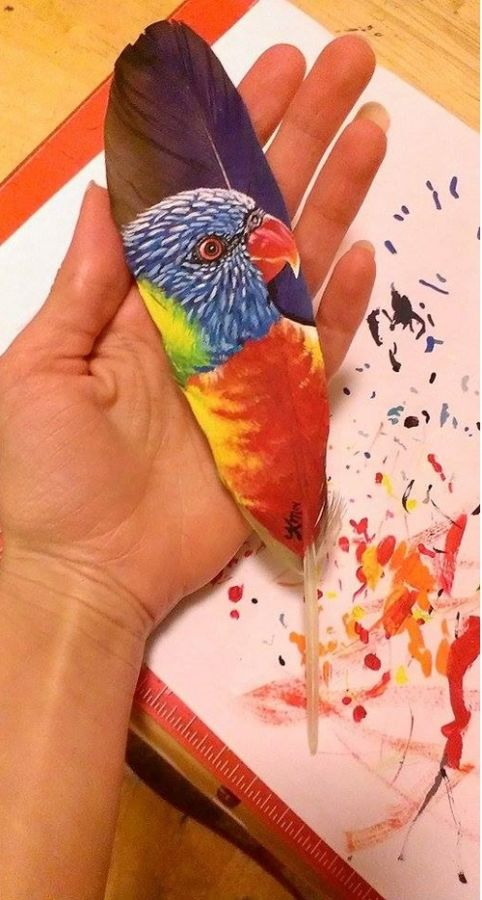 Retratos animales hechos con plumas (5)