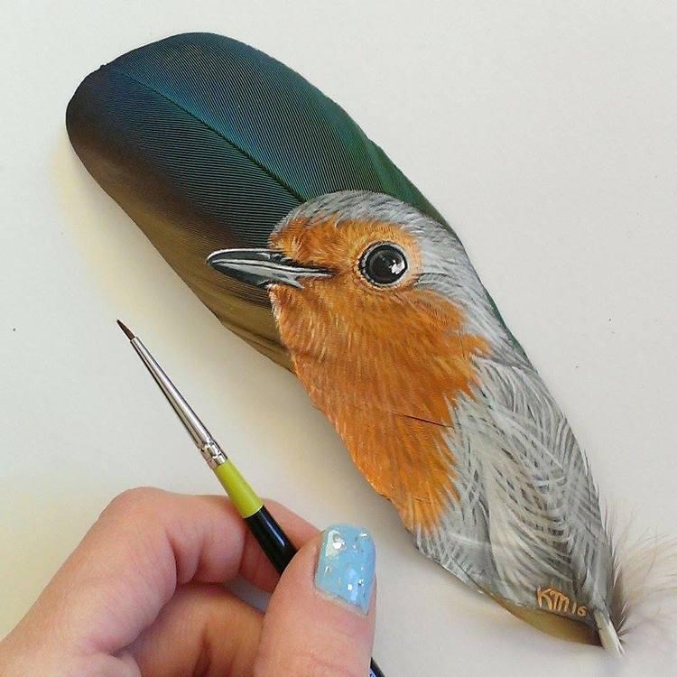 Retratos animales hechos con plumas (6)